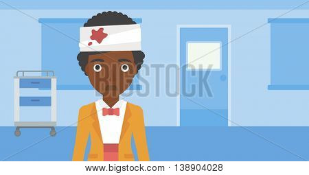 An african-american young sad wounded woman with bandages over her head in the medical office. Vector flat design illustration. Horizontal layout.