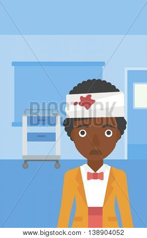 An african-american young sad wounded woman with bandages over her head in the medical office. Vector flat design illustration. Vertical layout.
