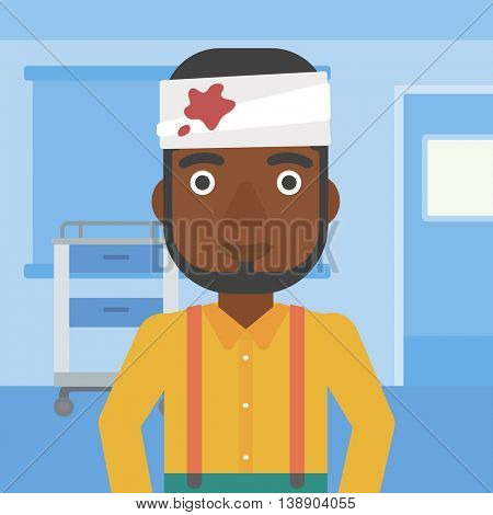 An african-american man with bandages over his head in the medical office. Vector flat design illustration. Square layout.