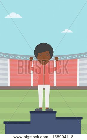 An african-american sportswoman celebrating on the winners podium. Sportswoman standing on the first place on the winners podium with raised hands. Vector flat design illustration. Vertical layout.