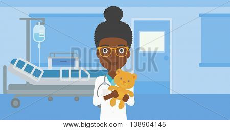 An african-american female pediatrician doctor holding a teddy bear on the background of hospital room. Vector flat design illustration. Horizontal layout.