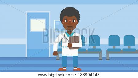 An african-american friendly doctor with stetoscope standing in hospital corridor and carrying folder of patient or medical information. Vector flat design illustration. Horizontal layout.