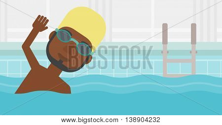An african-american sportsman with the beard wearing cap and glasses swimming in pool. Professional male swimmer in swimming pool. Vector flat design illustration. Horizontal layout.