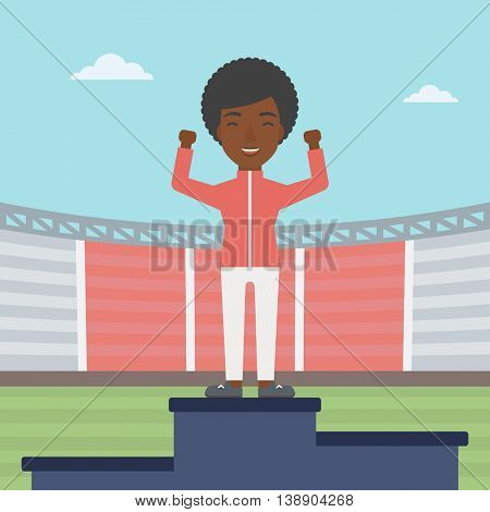 An african-american sportswoman celebrating on the winners podium. Sportswoman standing on the first place on the winners podium with raised hands. Vector flat design illustration. Square layout.