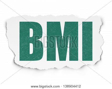 Medicine concept: Painted green text BMI on Torn Paper background with Scheme Of Hand Drawn Medicine Icons