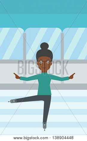 An african-american female figure skater performing on indoor ice skating rink. Young female figure skater dancing. Vector flat design illustration. Vertical layout.