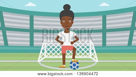 An african-american sportswoman standing with football ball on the football stadium. Professional football player with a soccer ball on the field. Vector flat design illustration. Horizontal layout.