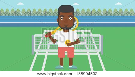 An african-american tennis player standing on the tennis court. Male tennis player holding a tennis racket and a ball. Man playing tennis. Vector flat design illustration. Horizontal layout.