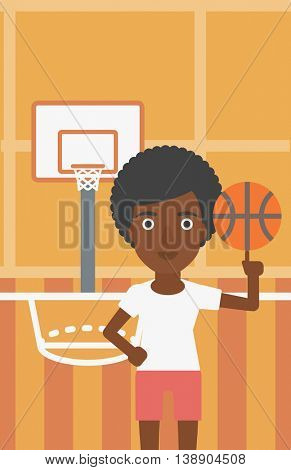 An african-american sportswoman spinning basketball ball on her finger. Young basketball player standing on the basketball court. Vector flat design illustration. Vertical layout.