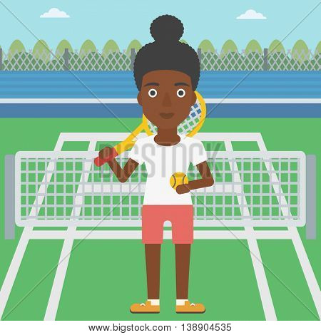 An african-american female tennis player standing on the tennis court. Tennis player holding a tennis racket and a ball. Young woman playing tennis. Vector flat design illustration. Square layout.