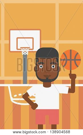 An african-american sportsman spinning basketball ball on his finger. Young basketball player standing on the basketball court. Vector flat design illustration. Vertical layout.