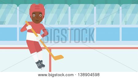 An african-american female ice hockey player skating on ice rink. Professional ice hockey player with a stick. Sportswoman playing ice hockey. Vector flat design illustration. Horizontal layout.
