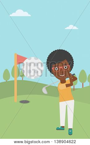 An african-american female golfer hitting the ball. Professional female golfer on golf course. Young woman playing golf. Vector flat design illustration. Vertical layout.