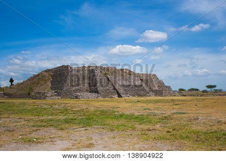 Archaeological Pyramid in ancient ruins of Tula de Allende Hidalgo, Mexico