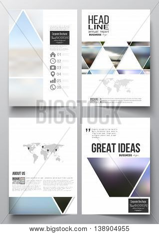 Set of business templates for brochure, magazine, flyer, booklet or annual report. Abstract colorful polygonal background, natural landscapes, geometric, triangular style vector illustration.