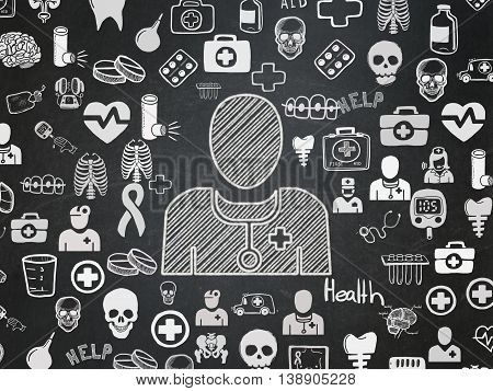 Health concept: Chalk White Doctor icon on School board background with  Hand Drawn Medicine Icons, School Board