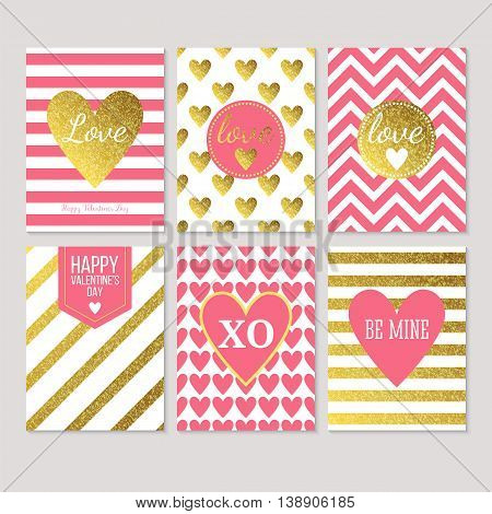 Modern creative Valentine's day cards in pink gold and white. Vector illustration