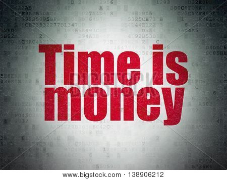 Time concept: Painted red word Time is Money on Digital Data Paper background