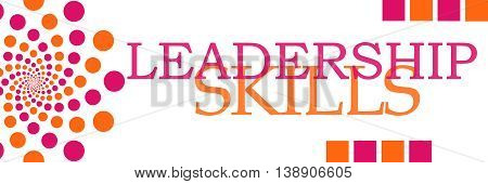 Leadership skills text written over pink orange background.
