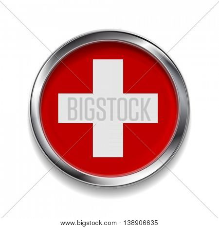 Abstract vector button with metallic frame. Swiss flag
