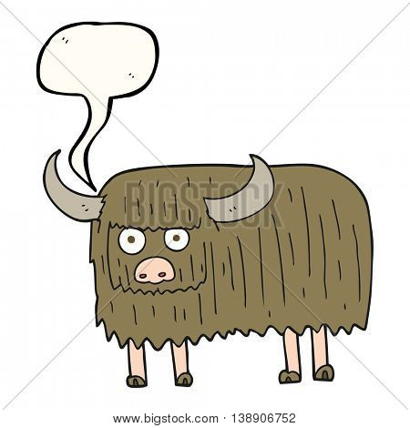 freehand drawn speech bubble cartoon hairy cow