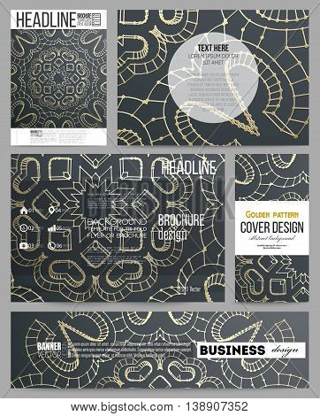 Set of business templates for presentation, brochure, flyer or booklet. Polygonal backdrop with golden connecting dots and lines, connection structure. Digital scientific background.