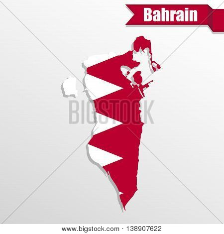 Bahrain map with flag inside and ribbon