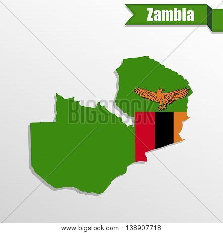 Zambia map with flag inside and ribbon