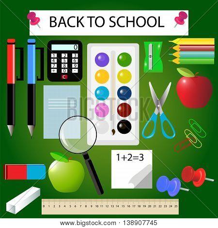 Set school supplies notebook, ruler, pencils, eraser, notebook, chalk, paint, brush, vector