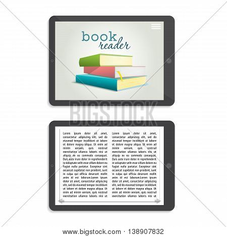 Three colored books stacked pile one above the other and are shown on the tablet screen. Vector illustration in cartoon style. Isolated object on a white background.