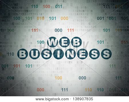 Web design concept: Painted blue text Web Business on Digital Data Paper background with Binary Code