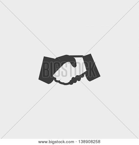 Handshake icon in a flat design in black color. Vector illustration eps10