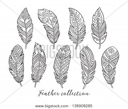 Native american, boho, indian feathers. Set of black hand drawn rustic decorative feathers isolated on white background. Vector illustration