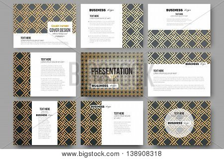 Set of 9 vector templates for presentation slides. Islamic gold pattern with overlapping geometric square shapes forming abstract ornament. Vector stylish golden texture on black background.