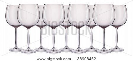 Set of empty wine glass. isolated on a white background.