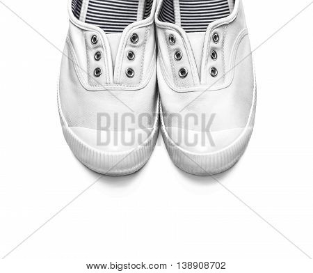 New white sneakers isolated on white background.