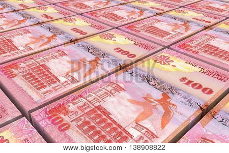 Bermuda dollars bills stacks background. 3D illustration.