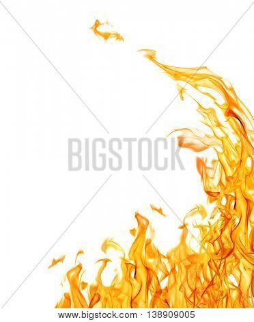 orange flame corner isolated on white background