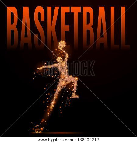 Abstract basketball player in jumping to the basket. Athlete in motion