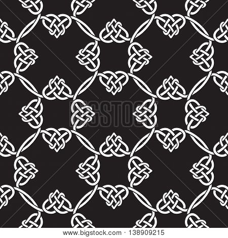 Seamless pattern in the Celtic style. Vector black and white ornament.