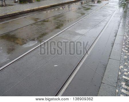 Rainy Day On A City Street