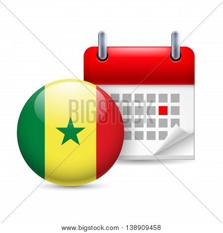 Calendar and round Senegalese flag icon. National holiday in Senegal