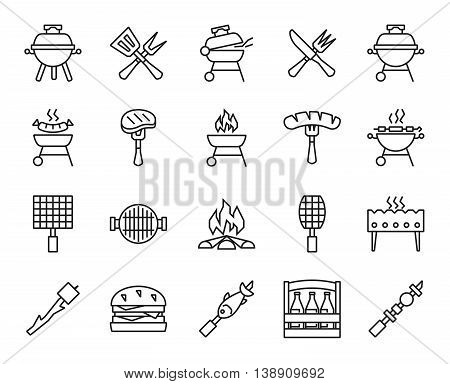 barbecue and grill. set of linear icons
