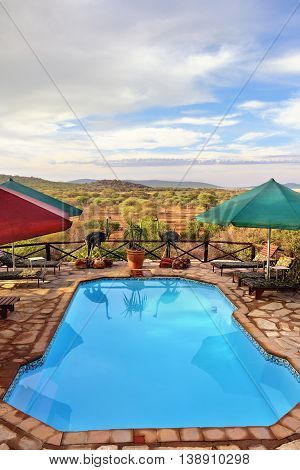 DAMARALAND NAMIBIA - FEB 04 2016: Swimming pool in Toko Lodge. Toko is the gateway to Western Etosha Damaraland and the unspoilt Kaokoveld