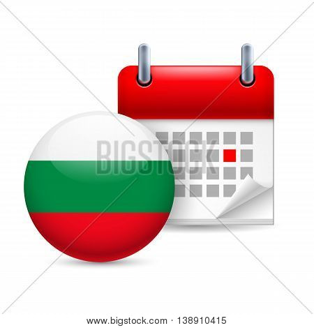 Calendar and round Bulgarian flag icon. National holiday in Bulgaria
