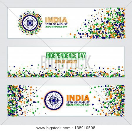 India Independence Day set of horizontal banners in traditional colors - saffron green navy blue.