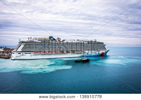 KINGS WHARFBERMUDA MAY 25 - The Norwegian Breakaway cruise ship docked at the Royal Naval Dockyard on May 25 2016 in Bermuda.