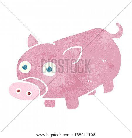 freehand retro cartoon piglet