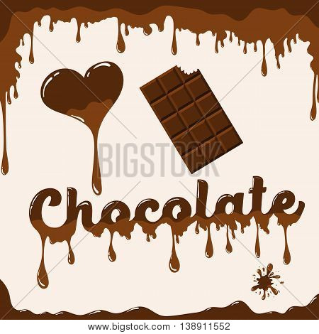 I love chocolate vector template with melting effect. Template with melted chocolate text with melted heart and with chocolate bar. Card concept for various use. Light brown background.