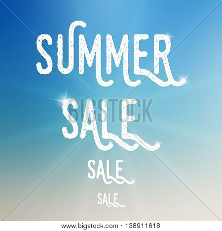 Vector summer sale template. Summer sale template on blurred colorful background. Template with low transparency sun. Sale text template with sparkles. Sale card template for various use.